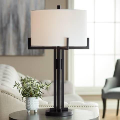 Idira Black Industrial Modern Table Lamp 86a68 Lamps Plus In 2021 Modern Table Lamp Black Table Lamps Industrial Table Lamp