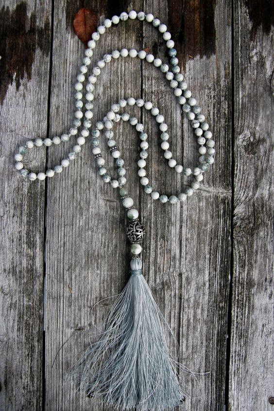 Tree Agate Long Necklace with Tassel by NORDeastHOME on Etsy: