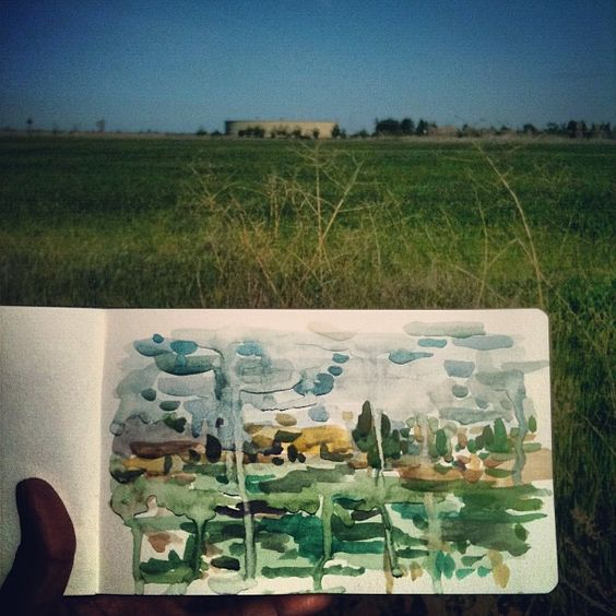 """THE NORTH FIELD, watercolor on paper, 5"""" x 8"""", 2012 // Tyson Anthony Roberts"""