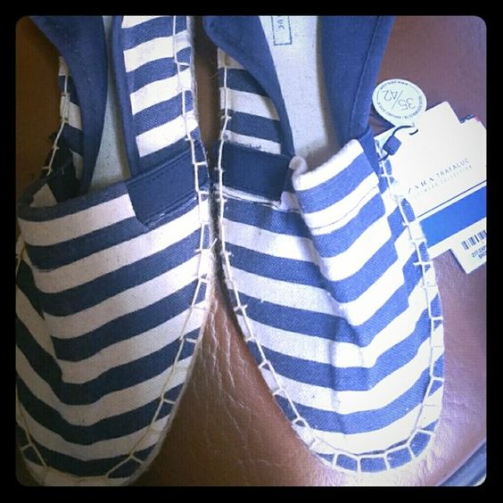 Zara flats (new with tags) never been worn White and blue sailor flats Zara Shoes Espadrilles