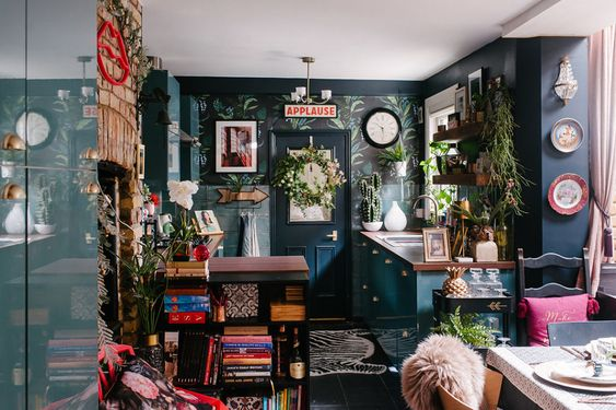 good clutter - maximalist kitchen and dining room
