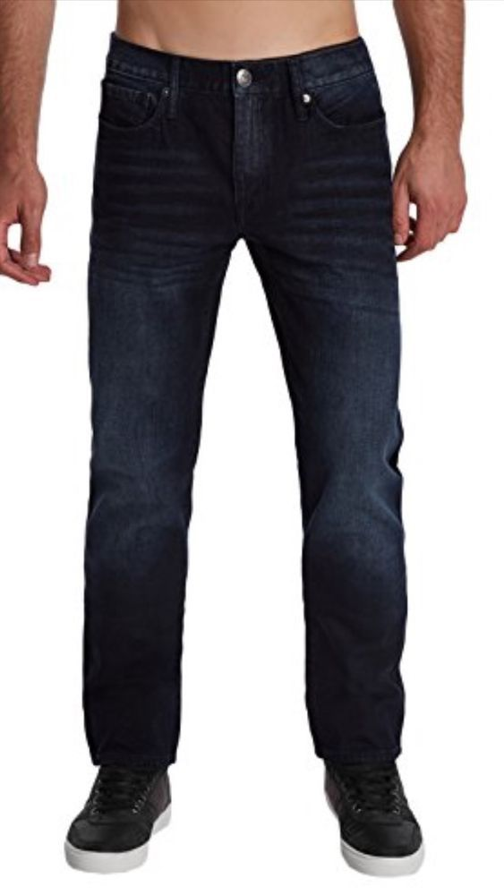 Guess Delmar Slim Straight Men's Stretch Shiny Dark Blue Jeans ...