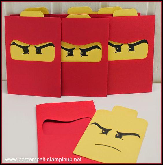 Lego Ninja Kindergeburtstag Einladungskarten selber machen  DIY