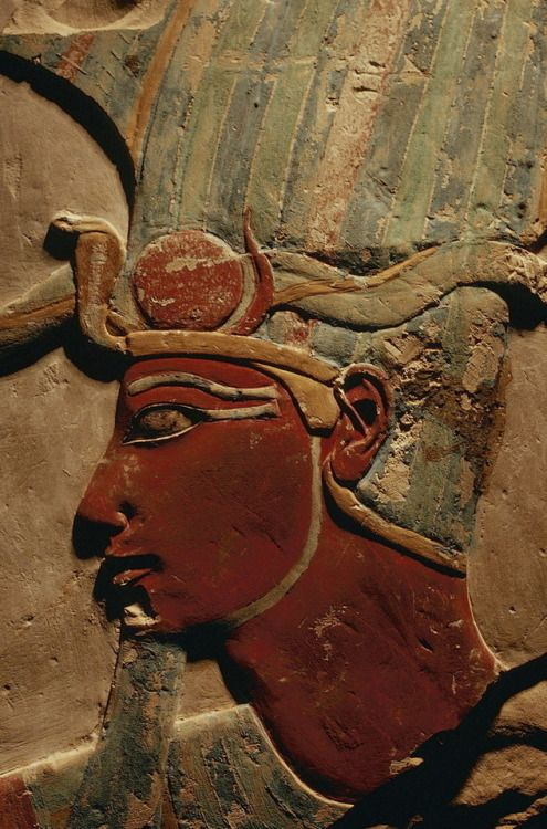 Polychrome relief of the warrior king Thutmose III (1479-1425 BC) wearing the Atef crown and false beard from Deir el-Bahari. Now in the Luxor Museum.