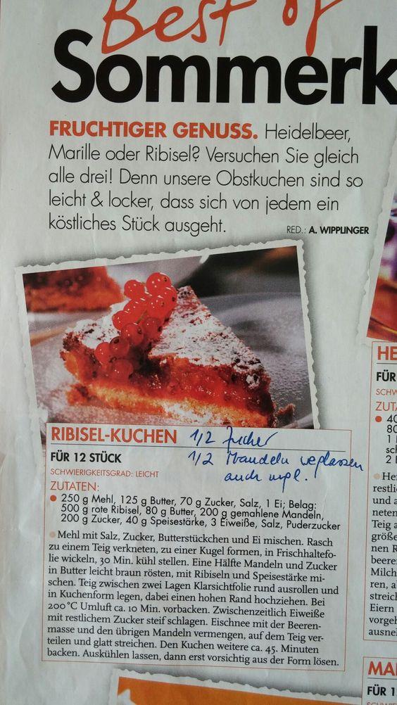Ribiselkuchen (rote Johannisbeeren)