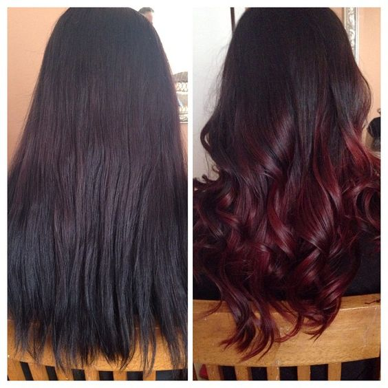 Red wine ombre hair makeover with CHI Ionic 7RV (prelightened previously boxed dyed black hair