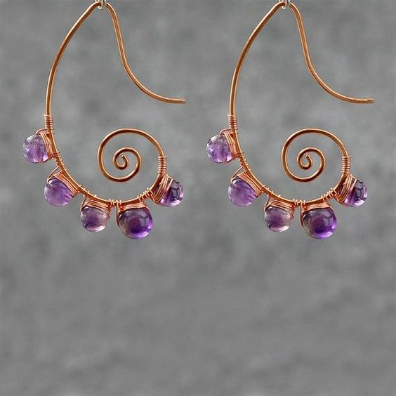 Amethyst scroll copper wire earrings handmade ani by AniDesignsllc, $15.95 by TamidP