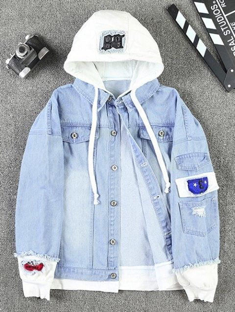 ZAFUL Unisex Casual Hooded Denim Jacket Ripped Letter Number Applique Embellished Distressed Hoodie Jacket