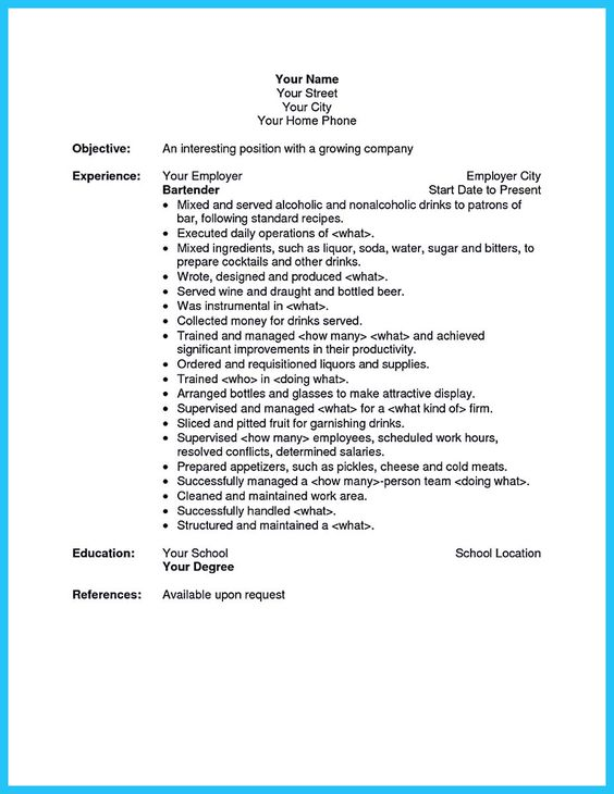 Interested to work as a bartender? Then you must make a bartending - bartending resume template