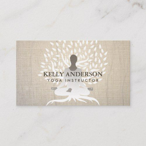 Yoga Instructor Vintage Tree Elegant Therapy Business Card Zazzle Com Vintage Tree Yoga Instructors Printing Double Sided