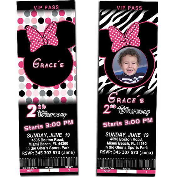 Minnie Mouse Birthday Party Ticket Invitations Hot Pink Zebra