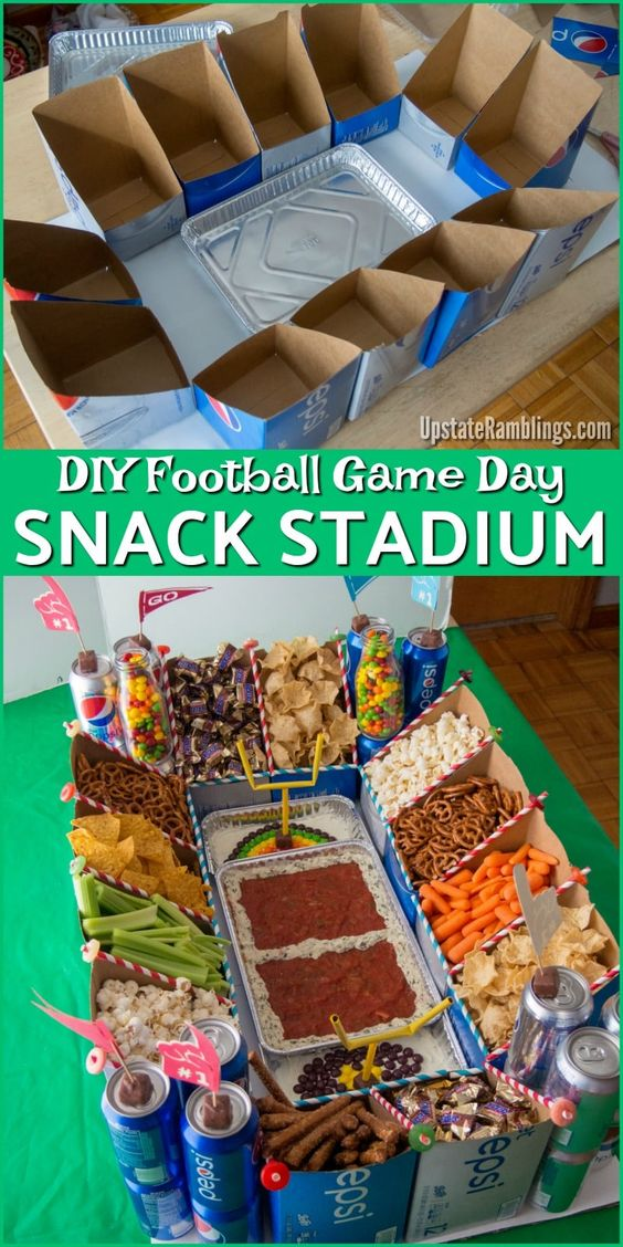 Ultimate in sports party entertaining - check out this Football Snack Stadium made with Soda Cartons! The easy DIY Modular Snack Stadium is perfect for your Football Game Day Party. Check out this tutorial and make your Big Game party one that will be remembered for years! #ad #football #tailgate #snackstadium