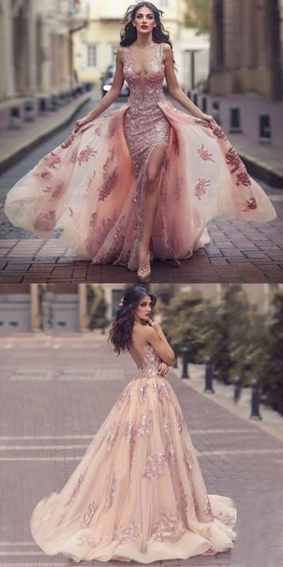 Cheap A-Line Round Neck Sweep Train Pink Tulle Prom Dress with Lace Appliques