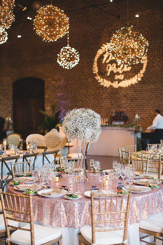 glam wedding reception - photo by Izzy Hudgins Photography http://ruffledblog.com/handcrafted-sparkle-wedding-in-savannah