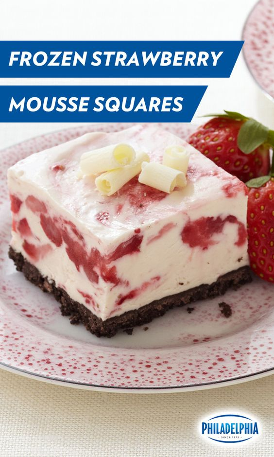 These Frozen Strawberry White Chocolate Mousse Squares with PHILADELPHIA Cream Cheese, cookies, fresh strawberries and COOL WHIP take just 15 minutes to prep, and are the perfect cool down treat for any hot day.: