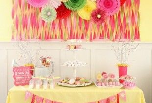 love the colors and backdrop: Birthday Parties, Daisies Donuts, Donuts Party, 1St Birthday, Party Table, Crepe Paper, Party Ideas, Birthday Party, Birthday Ideas