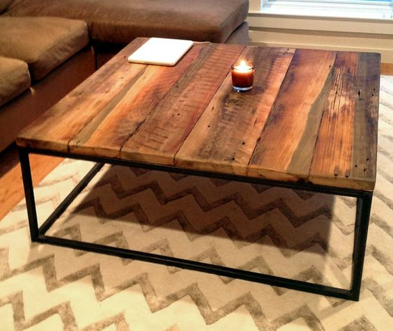 etsy custom // ~$635 -- FREE SHIPPING!  A perfect living-room accent piece, our custom built coffee table with an industrial style welded metal base provides a: