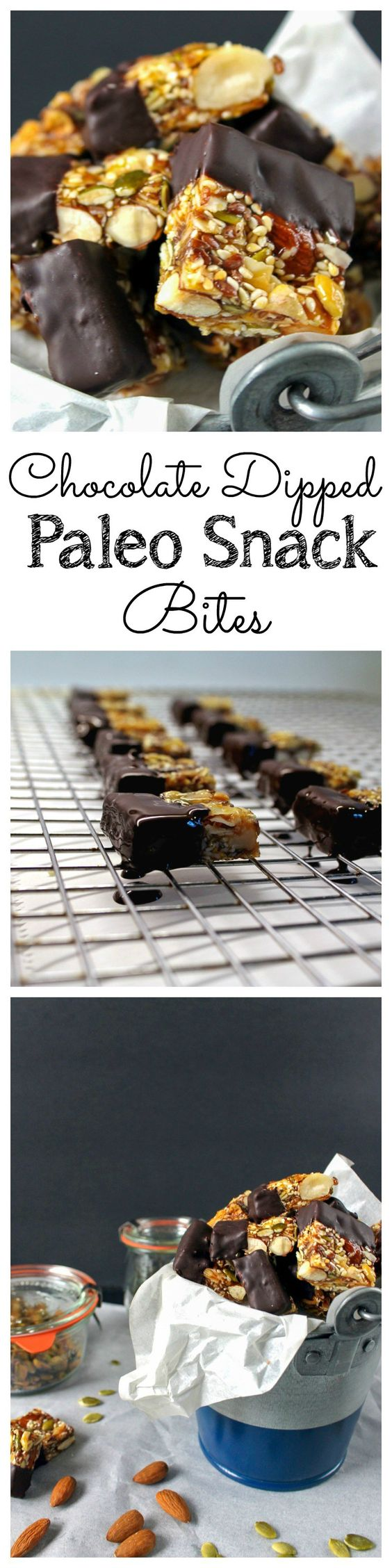 These bite-sized snack bars are filled with nuts and seeds and held together with honey. These are great for those on Paleo or clean eating diets! Gluten free too! Chocolate Dipped Paleo Snack Bars Recipe | Take Two Tapas