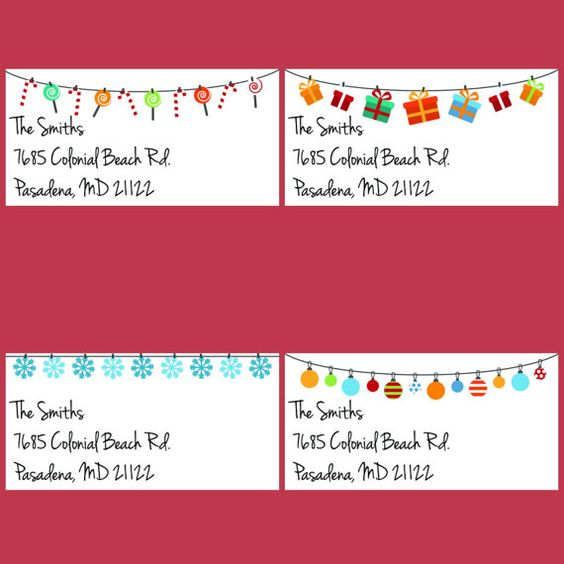 christmas return address labels by Labelin on Etsy