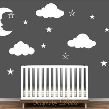 Nursery Wall Decal with Moon, Clouds, and Stars