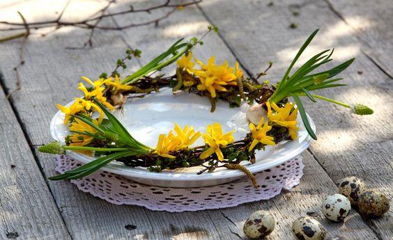 Deko-Ideen mit Forsythien -  Forsythien färben jedes Jahr als klassische Frühjahrsboten viele Gärten in leuchtendes Gelb. Mit wenigen Handgriffen lassen sich aus den sternförmigen Forsythienblüten schöne Dekorationen fertigen.