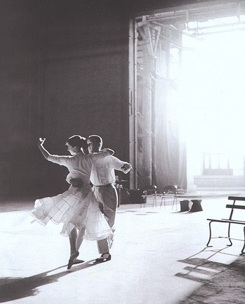 Audrey Hepburn & Fred Astaire on set of 'Funny Face.'