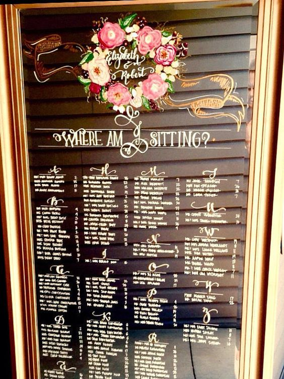 Leaning floor mirror wedding seating chart by for Floor 6 reloaded menu