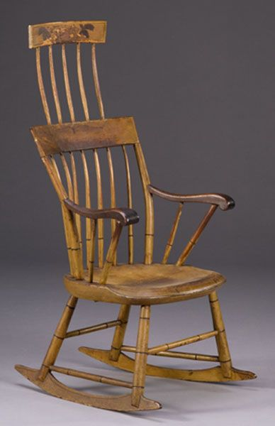 comb back windsor rocking armchair in old paint 2007 fallamericana fine decorativearts oct 12. Black Bedroom Furniture Sets. Home Design Ideas