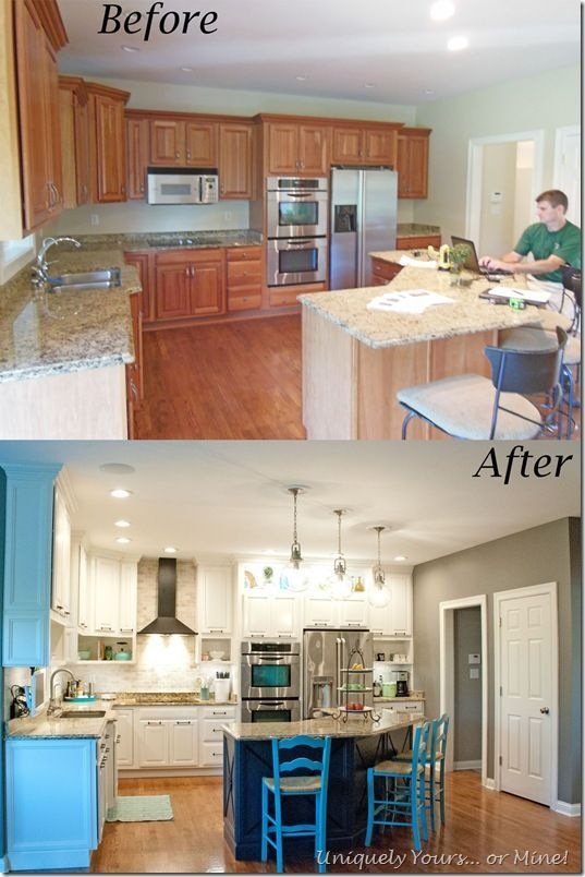 Before And After Of Diy Kitchen Remodel Raised Kitchen Cabinets Open Cabinetry Painted Cabi Kitchen Remodel Small Diy Kitchen Remodel Simple Kitchen Remodel