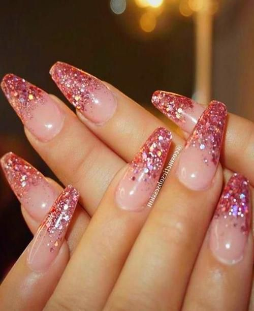 Christmas Nails Acrylic Coffin Pink Glitter Nails Glitter Tip Nails Nail Designs Glitter