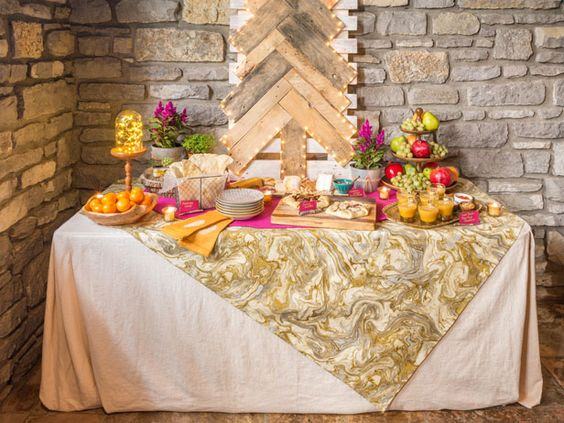 Dress up plain folding tables with a custom fitted tablecloth >> http://blog.diynetwork.com/maderemade/2013/12/10/here-it-is-maybe-the-best-tablecloth-ever/?soc=pinterest-blogparty: Buffets Bars, Holiday Tablecloth, Dress Up, Fitted Tablecloth, Diynetwork Com S, Decoration Ideas, Diy Holiday