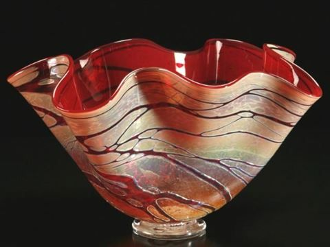 Golden Gem Fluted Bowls In 2020 Glass Art Art Glass Bowl Blown Glass Bowls