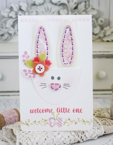 Bunny Bag Revisited: Welcome Little One Card by Melissa Phillips for Papertrey Ink (April 2016)