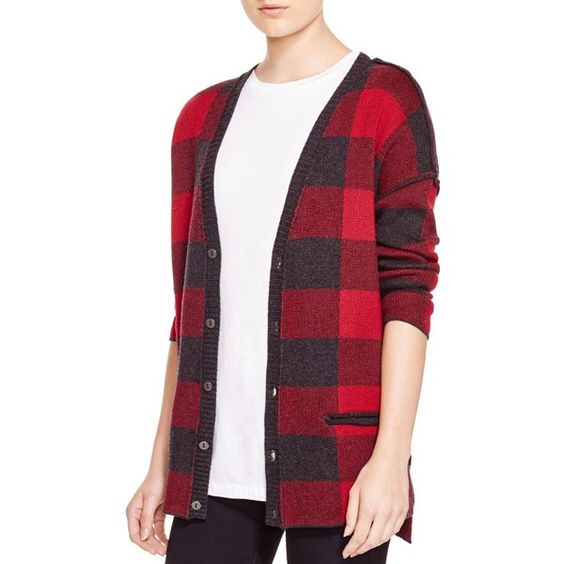 Current/Elliott The V Neck Plaid Cardigan ($328) ❤ liked on Polyvore featuring tops, cardigans, forester plaid, red top, vneck tops, red plaid top, v neck cardigan and plaid cardigan