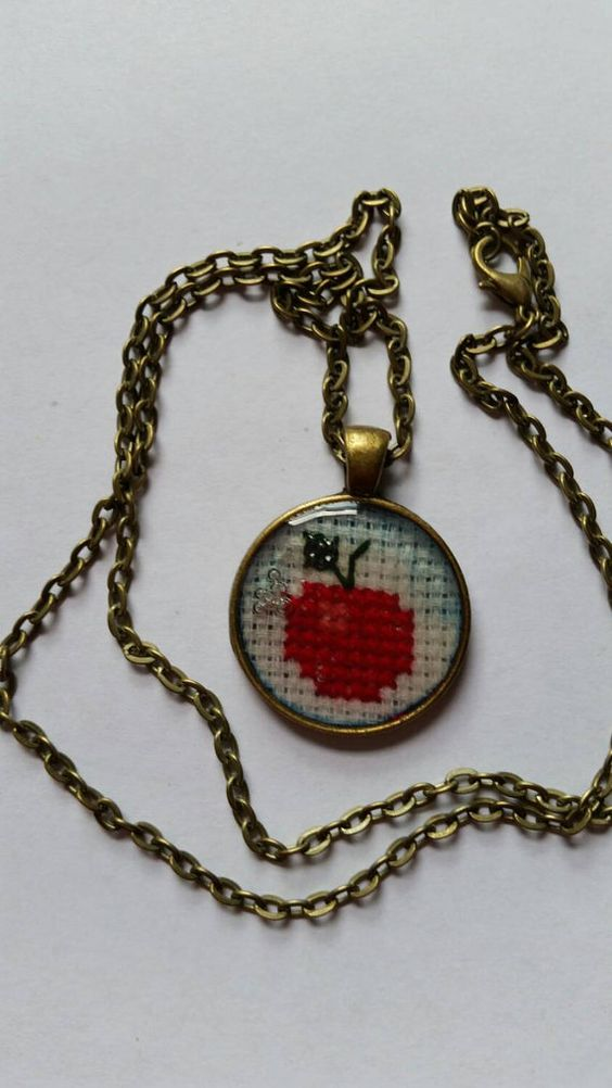 Cross stitched apple necklace, teacher gift, apple necklace