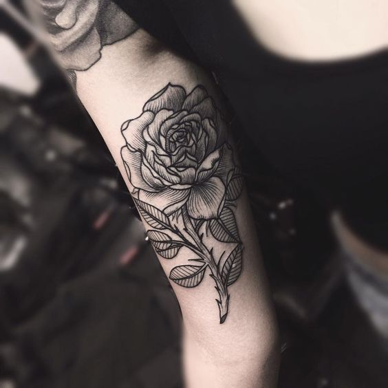 rosa, rose, line work, tatuaggio rosa, rose tattoo, black and white, tattoo studio, dettagli, details, arm tattoo, tatuaggio braccio, tattoo by Edwin Basha