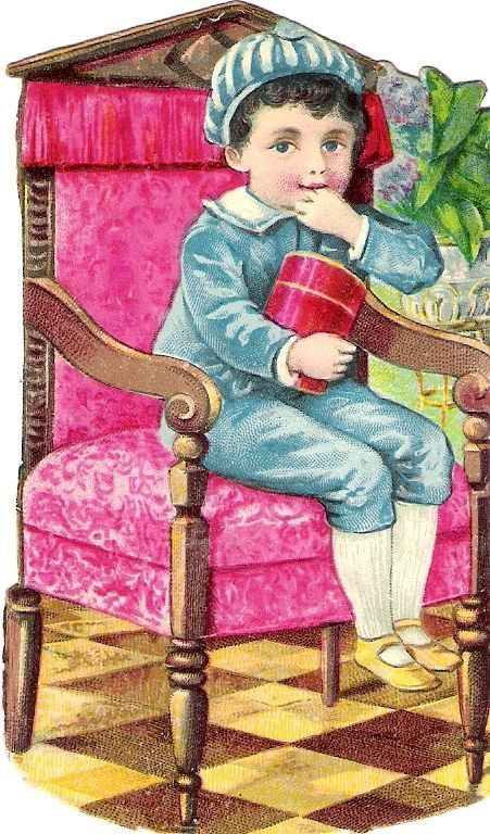 Oblaten Glanzbild scrap diecut chromo Kind child Knabe boy Bub Sessel chair: