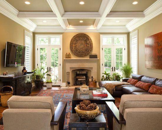 Tv Living Room Ideas New Tv Not Over Fireplace Family Room Wall Mounted Tv Design Di 2020 Desain Ruang Keluarga Desain Kamar Rumah Nyaman