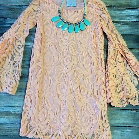 This peach lace dress is so pretty!! $44.95