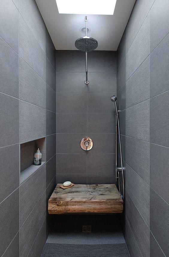 Douche-design-gris-et-boisjpg 650 × 990 pixels Idée pour salle de - Salle De Bain Moderne Grise