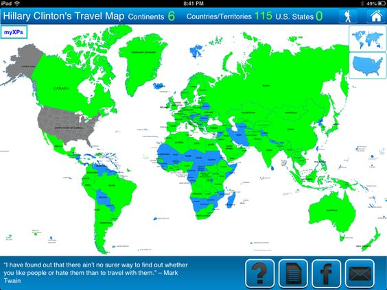 Map of countries that Hillary Clinton visited as Secretary of – App Travel Map