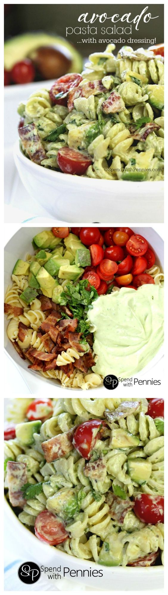 Avocado Pasta Salad with Avocado Dressing Recipe via Spend With Pennies - Cold pasta salads are the perfect & satisfying quick dinner or lunch! This delicious pasta salad recipe is loaded with avocados, crispy bacon & juicy cherry tomatoes tossed in a homemade avocado dressing! Easy Pasta Salad Recipes - The BEST Yummy Barbecue Side Dishes, Potluck Favorites and Summer Dinner Party Crowd Pleasers #pastasaladrecipes #pastasalads #pastasalad #easypastasalad #potluckrecipes #potluck #partyfood #4thofJuly #picnicfood #sidedishrecipes #easysidedishes #cookoutfood #barbecuefood #blockparty