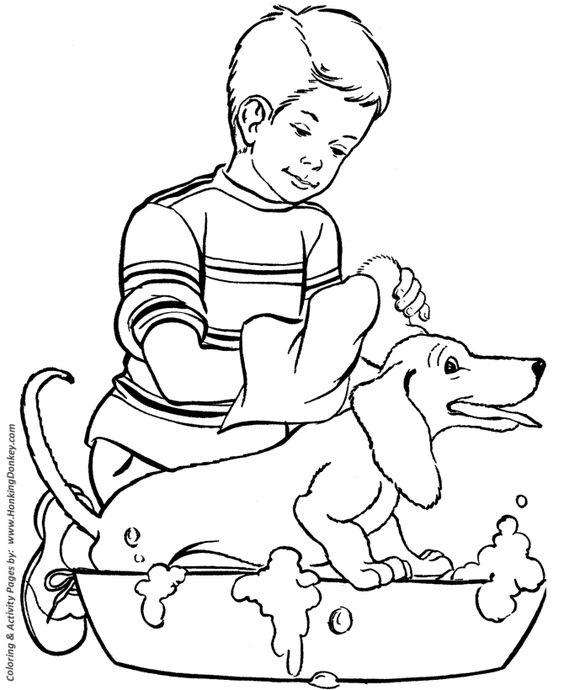 happy dog bath dog coloring