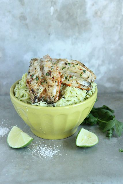 Avocado Orzo with Garlicky Grilled Shrimp // Heather Christo Cooks