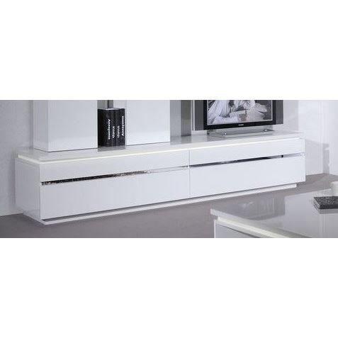 Meuble Tv 2 Abattants Laque Blanc Et Bandeau Chrome Ou Bois Buzz Avec Eclairage Coloris Blanc Dimensions 220 Meuble Tv Mobilier De Salon Meuble Tv Bas