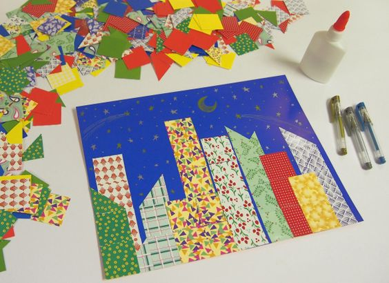 paper collage-Cute for teaching city vs. country: