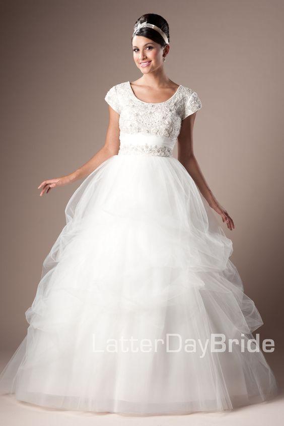 Modest wedding dress carabella latterdaybride prom for Cheap lds wedding dresses