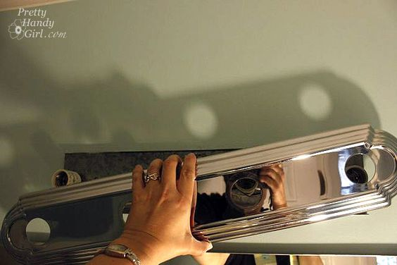 Bye bye hollywood strip light diy replacement - How to replace light fixture in bathroom ...