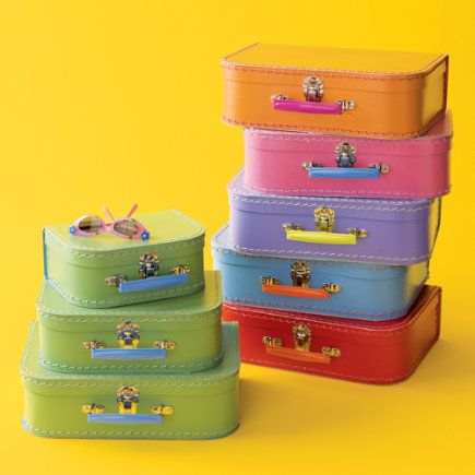 Love these colorful mini storage suitcases for storing all sort of ...