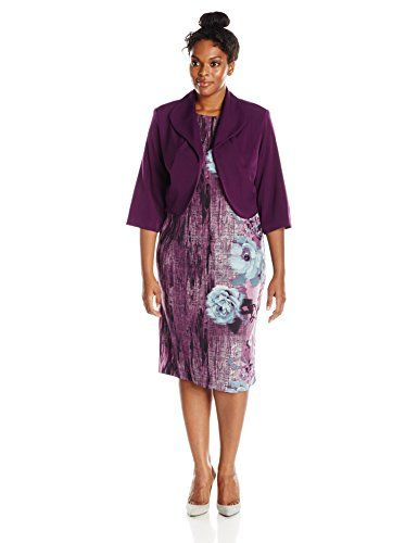 Maya Brooke Women's Plus-Size Floral Printed Dress with Jacket...